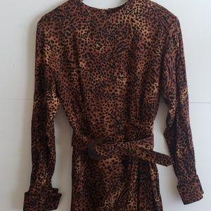 Vintage 80's USA made cheeta print midi dress 6